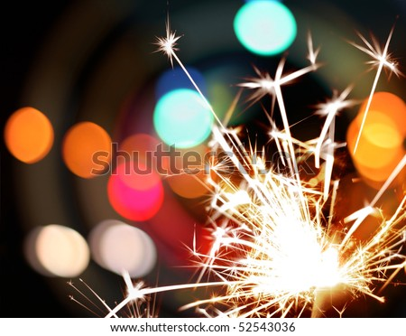 sparkler and lights - stock photo