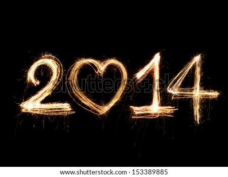 Sparkler firework light 2014 Number alphabet - stock photo