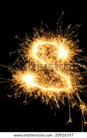 Sparkler letter of English alphabet - stock photo