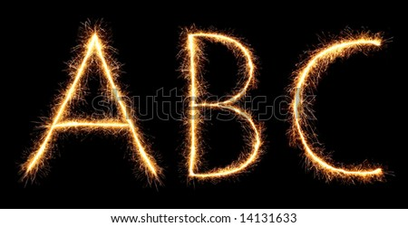 sparklers forming letters, A B C (see more letters in my portfolio)