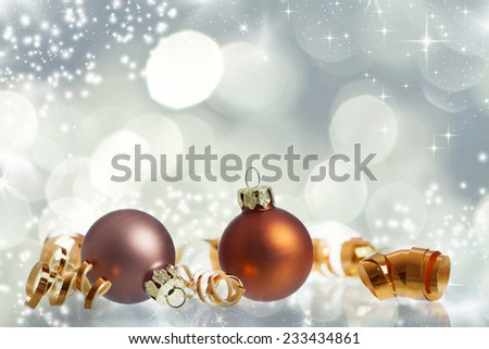 Sparkling Christmas background with red Christmas decorations