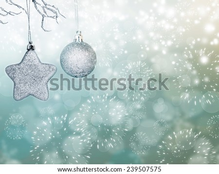 Sparkling Christmas background with silver Christmas ball, gift box and star - stock photo