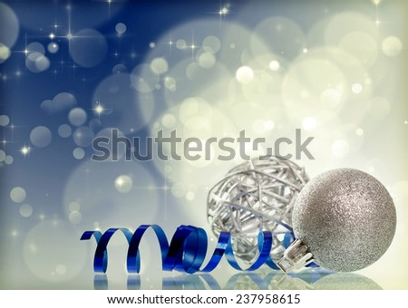 Sparkling Christmas background with silver Christmas balls - stock photo