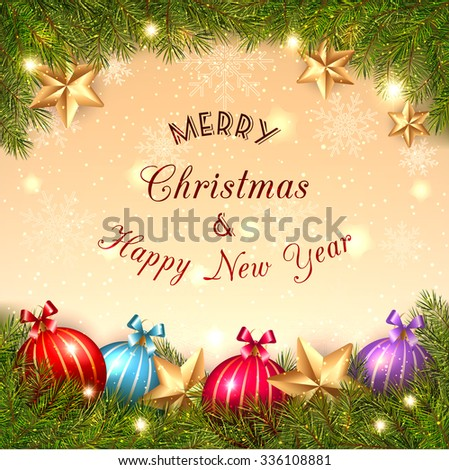 Sparkling Christmas Crystal Ball on Golden Background - stock photo