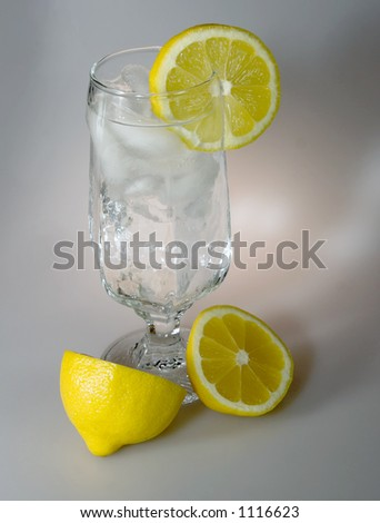 sparkling clear water with ice cubes and lemons.