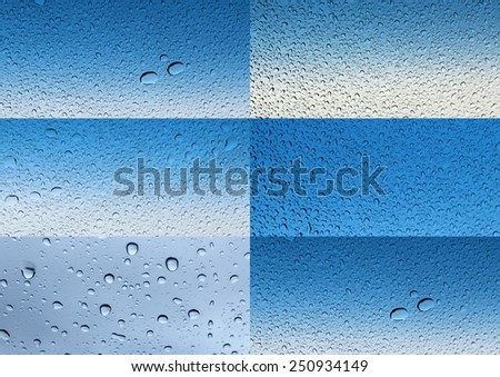 Sparkling collage of clear raindrops on  a  glass  windscreen with blue and white  background is  ideal for  unique abstract wallpapers. - stock photo