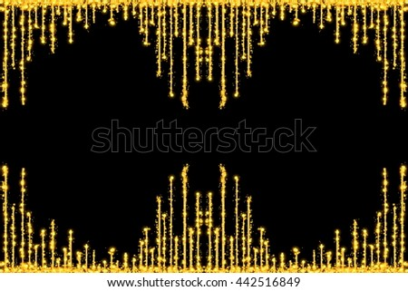 Sparkling curtain on a black background