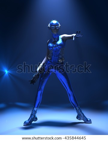 Sparkling cyber girl in sci-fi outfit surrounded with blue light on dark background 3d render