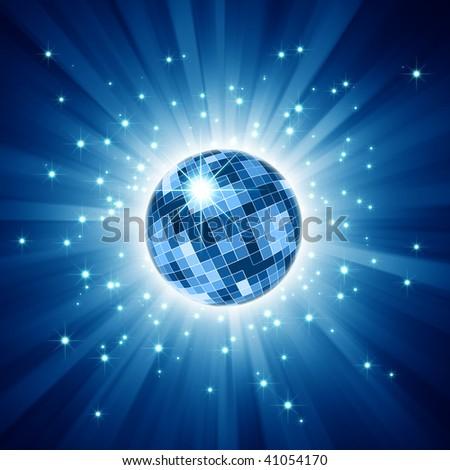 Sparkling disco ball on blue light burst and glitter stars - stock photo