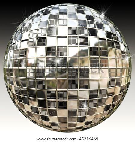 Sparkling Disco Party Mirror Ball - stock photo