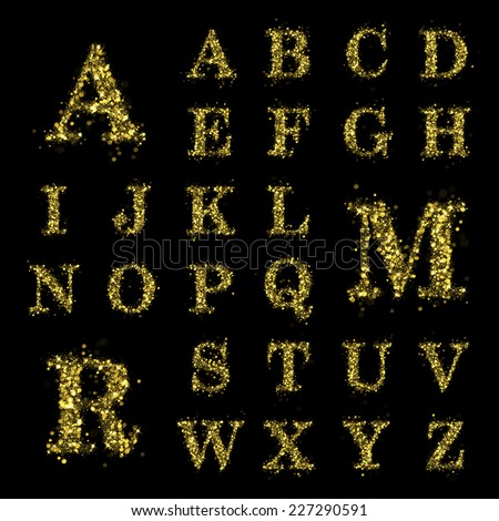Sparkling font on black background. Alphabet of golden glittering stars (glittering font concept). Christmas holiday illustration of bokeh shining stars character.. - stock photo
