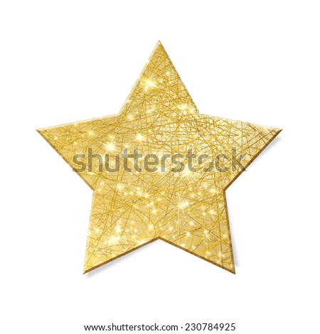 Sparkling gold star isolated - clipping path included - stock photo