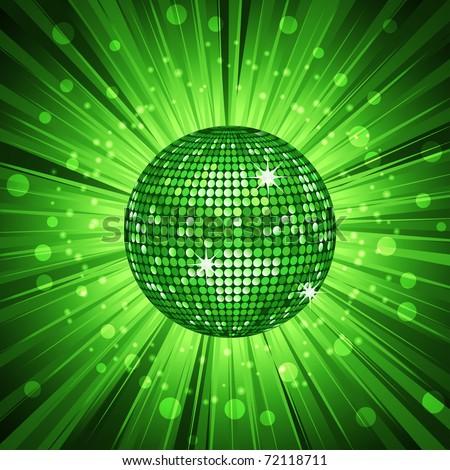 Sparkling green disco ball on a green star burst background - stock photo