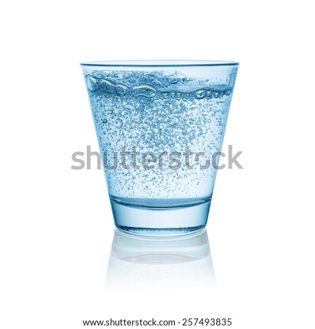 sparkling mineral water in a glass - stock photo