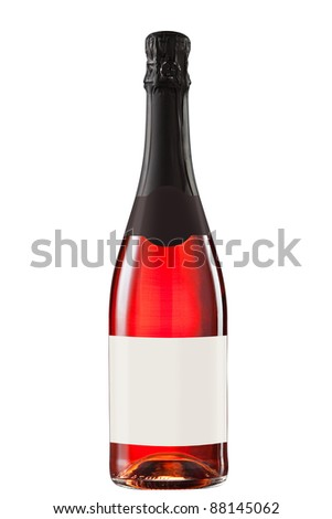 Sparkling red wine bottle with blank label - stock photo