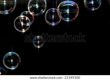 sparkling soap bubbles - stock photo