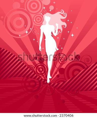 Sparkling white silhouette of a beautiful girl with long, curly hair on a vibrant pink and red background - great for Valentine's designs!  (drawn, not a trace) - stock photo