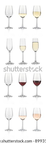 Sparkling white wine before red wine glasses of white background