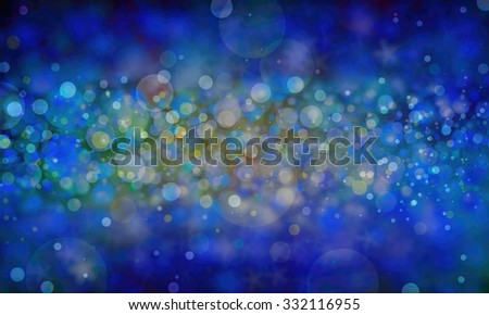 sparkly background design, blue blurred layers of white gold and teal bokeh lights and stars with in focus center, New years background celebration design