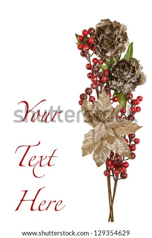Sparkly Pewter Flowers Shiny Red Berries and Gold Leaves with Copy Space - stock photo