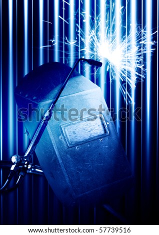 Sparks during cutting of metal by gas welding - stock photo