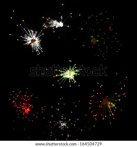 Sparks. Fireworks are a class of explosive pyrotechnic devices used for aesthetic