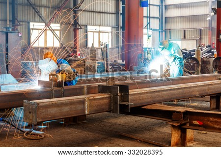 Sparks from the cutting of steel produced - stock photo