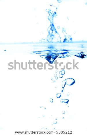Sparks of blue water on a white background