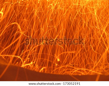 sparks visible during the combustion of fine coal allowed a fired boiler - stock photo