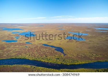 Sparse Landscape of Nunavut, Canada - stock photo