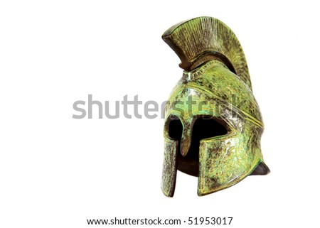 Spartan helmet isolated on white background - stock photo