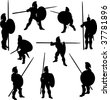 Spartan Hoplite Bitmap Silhouettes - stock photo