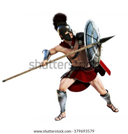 Spartan in action.Full length illustration of a Spartan warrior in Battle dress on defensive on a white background. Photo realistic 3d model scene. - stock photo