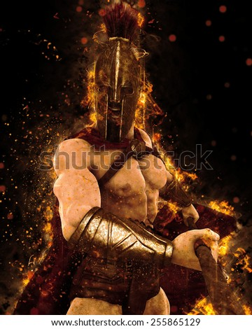 spartan on the eye of the war - stock photo
