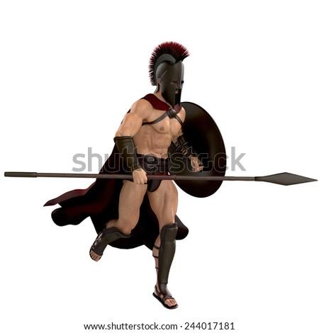 spartan running - stock photo
