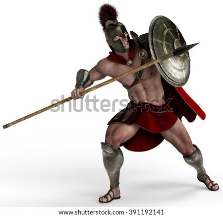 spartan soldier - stock photo