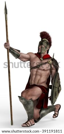 spartan soldier pray - stock photo