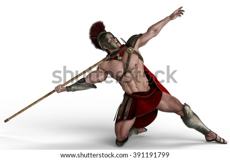 spartan soldier shooting - stock photo