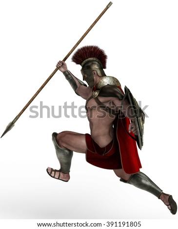 spartan soldier side attak - stock photo