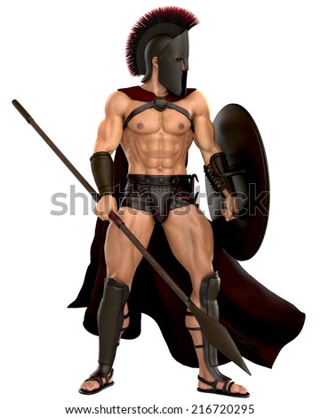 spartan standing up - stock photo