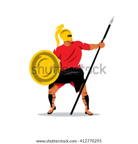 Spartan Warrior Cartoon Illustration. Gladiator in a helmet holding shield and a spear. Branding Identity Corporate unusual Logo isolated on a white background - stock photo