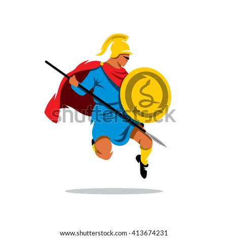 Spartan Warrior Cartoon Illustration. Gladiator in a helmet jumping with shield and a spear. Branding Identity Corporate unusual Logo isolated on a white background - stock photo