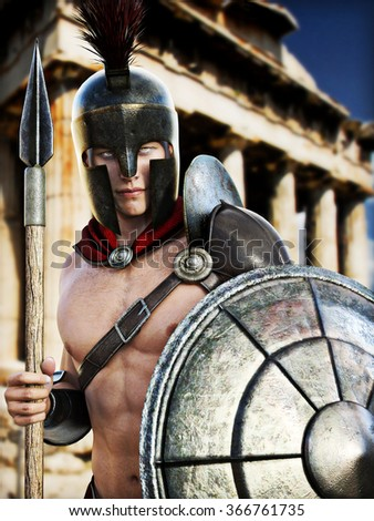 Spartan Warrior posing in front of Greek architecture . Photo realistic 3d model scene .  - stock photo