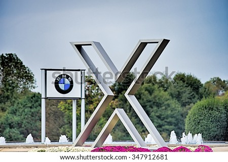 SPARTANBURG SC - October 2015   sign at the BMW assembly plant in Spartanburg, South Carolina on October 2015 . The BMW X3, X5 and X6 are assembled at the plant. - stock photo