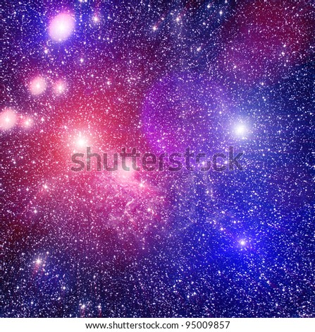 Spase nebula and colored stars