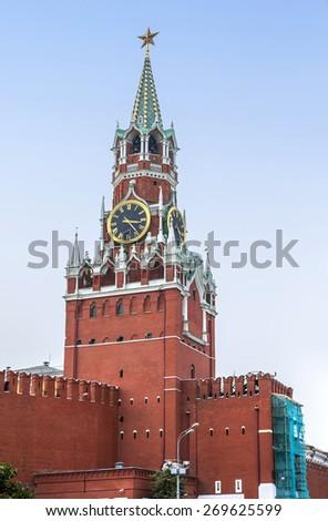 Spasskaya tower in Kremlin (Moscow, Russia) - stock photo