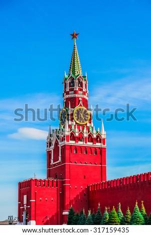 Spasskaya tower of Moscow Kremlin, Russia, Europe - stock photo