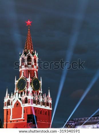 Spasskaya Tower of the Moscow Kremlin in illumination. Focus on tower - stock photo