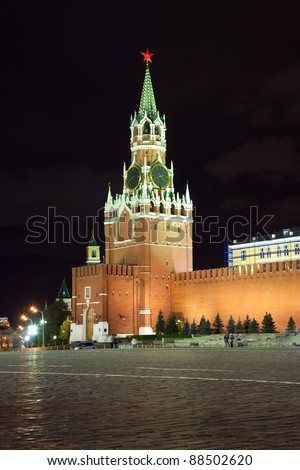 Spassky Tower of Moscow Kremlin at Red Square in Moscow. Russia - stock photo
