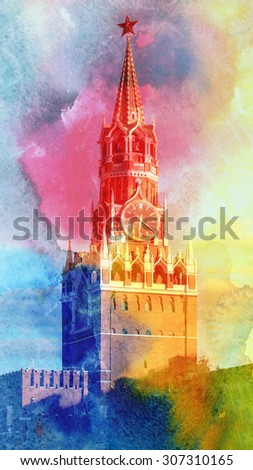 Spassky tower of Moscow Kremlin photographed close up - stock photo